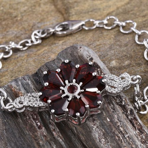 GP Mozambique Garnet, White Topaz and Kanchanaburi Blue Sapphire Floral Bracelet (Size 7.5) in Platinum Overlay Sterling Silver 8.000 Ct.