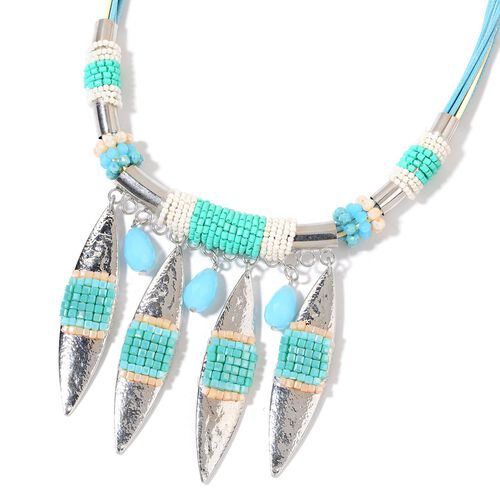 Simulated Aquamarine and Multi Colour Beads Necklace (Size 21 with 2 inch Extender) in Silver Tone