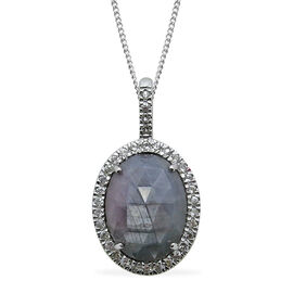 Natural Silver Sapphire (Ovl 9.11 Ct), White Sapphire Pendant With Chain in Rhodium Plated Sterling Silver 10.250 Ct.