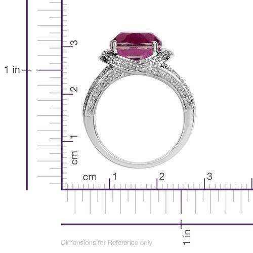 Kunzite Colour Quartz (Ovl 3.75 Ct), Diamond Ring in Platinum Overlay Sterling Silver 3.800 Ct.