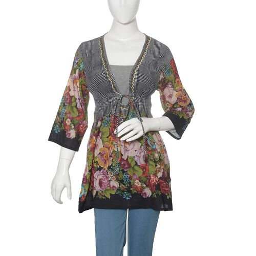 100% Cotton Multi Colour Flowers Embroidered Black Colour Beach Cover up and Poncho (Size 75x50 Cm)