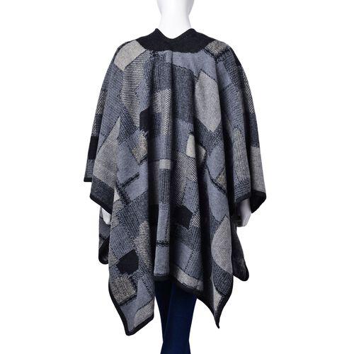 Black and Grey Colour Geomatric Pattern Poncho (Size 123x76 Cm)