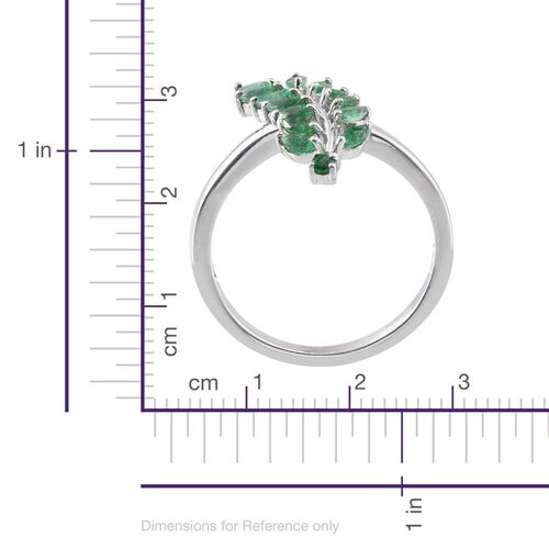 Kagem Zambian Emerald (Mrq) Leaves Ring in Platinum Overlay Sterling Silver 1.000 Ct.