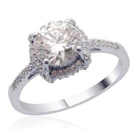 J Francis - Platinum Overlay Sterling Silver (Rnd) Ring Made with SWAROVSKI ZIRCONIA 2.696 Ct.