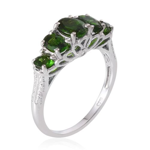 Russian Diopside (Ovl 0.75 Ct) Ring in Platinum Overlay Sterling Silver 2.250 Ct.