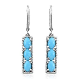 Sleeping Beauty Turquoise 2.50 Carat Silver Lever Back Earrings In Platinum Overlay
