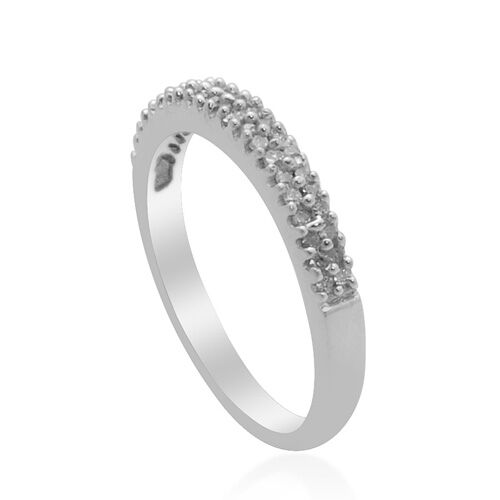 Diamond Platinum Overlay Sterling Silver Ring   0.168  Ct.
