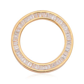 ELANZA AAA Simulated Diamond (Bgt) Circle Pendant in 14K Gold Overlay Sterling Silver