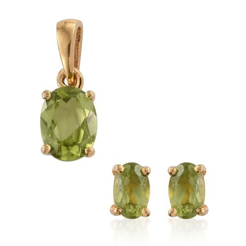 Hebei Peridot 1.75 Ct Solitaire Pendant and Stud Earrings  in 14K Gold Overlay Sterling Silver