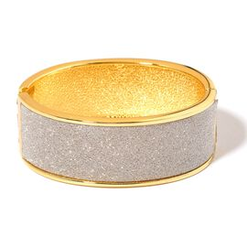 Designer Inspired Silver Glitter Bangle (Size 7) in Yellow Gold Tone