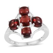 Mozambique Garnet (Cush) 5 Stone Cross Ring in Sterling Silver 4.000 Ct.