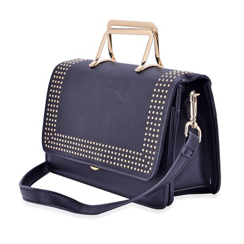 Amor Gold Metal Handle Bag in Black Colour (Size 24x15x10 Cm)