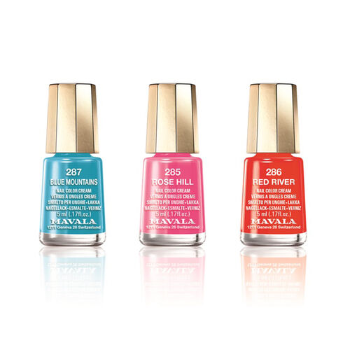 Mavala - Summer Trio Blue Mountains New Trio - Rose Hill 285, Blue Mountains 287 and Red River 286