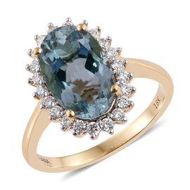 ILIANA 18K Gold 3.50 Carat AAA Santa Teresa Aquamarine Rare Long Oval Halo Ring with Diamond SI G-H.