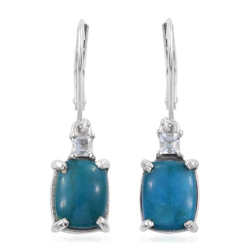 Opalina (Cush), Espirito Santo Aquamarine Lever Back Earrings in Platinum Overlay Sterling Silver 5.500 Ct.