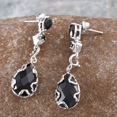 GP Boi Ploi Black Spinel (Pear), Kanchanaburi Blue Sapphire Earrings (with Push Back) in Platinum Overlay Sterling Silver 9.250 Ct.