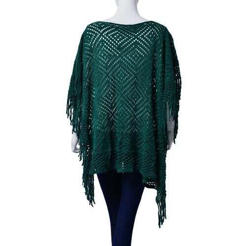 Diamond Pattern Green Colour Poncho with Tassels (Size 80x70 Cm)