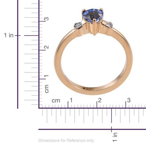 ILIANA 18K Yellow Gold 1 Carat Ceylon Blue Sapphire Heart, Diamond SI G-H Ring.
