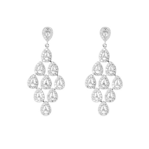 AAA Simulated White Diamond (Rnd) Earrings and Pendant in Sterling Silver 2.600 Ct.