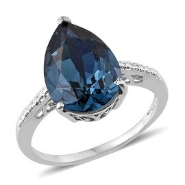 Crystal from Swarovski - Montana Crystal (Pear) Solitaire Ring in Platinum Overlay Sterling Silver 4.500 Ct.