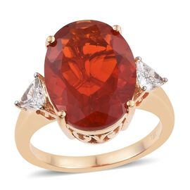 ILIANA 18K Y Gold AAAA Jalisco Fire Opal (Ovl 6.00 Ct), Diamond Ring 6.500 Ct.