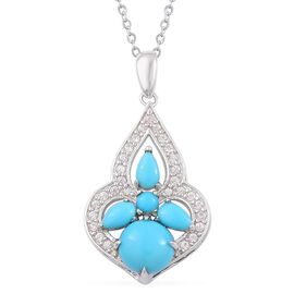 Arizona Sleeping Beauty Turquoise (Rnd), White Zircon Pendant With Chain in Rhodium and Platinum Overlay Sterling Silver 1.650 Ct.