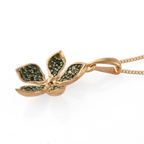 Kimberley Forget Me Not Collection - Green Diamond (Rnd) Floral Pendant with Chain in 14K Gold Overlay Sterling Silver 0.250 Ct.