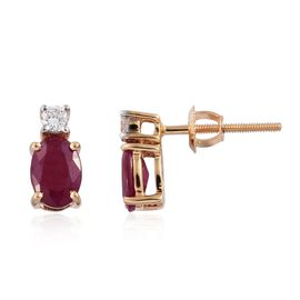 ILIANA 18K Yellow Gold 1.77 Ct. AAAA Pigeon Blood Burmese Ruby Diamond (SI/G-H) Stud Earrings (with Screw Back)