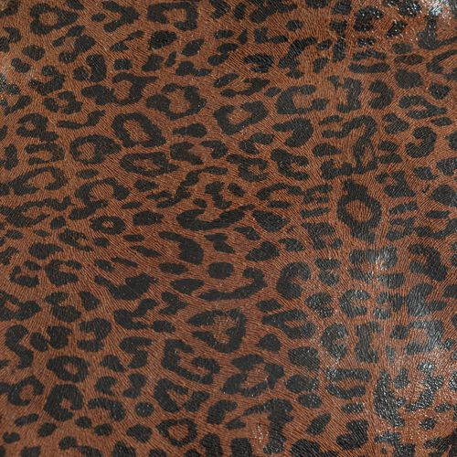 Genuine Leather Leopard Pattern Chocolate and Black Colour Reversible Tote Bag with a Small Pouch (Size 33x29 Cm and 19x14 Cm)