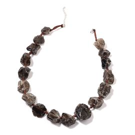 Brazilian Smoky Quartz Necklace (Size 18) in Sterling Silver 152.500 Ct.