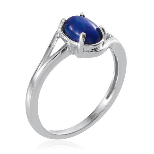 Blue Ethiopian Opal (Ovl) Solitaire Ring in Platinum Overlay Sterling Silver 0.750 Ct.
