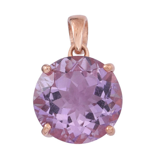 Rose De France Amethyst (Rnd) Solitaire Pendant in Rose Gold Overlay Sterling Silver 8.000 Ct.