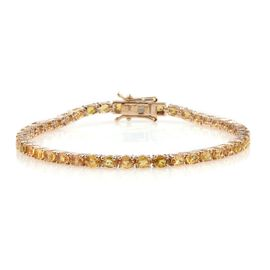 9K Yellow Gold 10 Carat Yellow Sapphire Oval Tennis Bracelet Size 7.5.