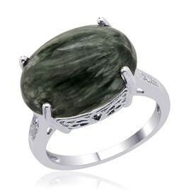 Siberian Seraphinite (Ovl 7.50 Ct) Diamond Ring in Platinum Overlay Sterling Silver  7.550 Ct.