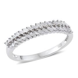 Diamond (Bgt) Ring in Platinum Overlay Sterling Silver 0.330 Ct.