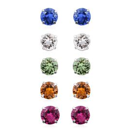 Set of 5 - Summer Collection Crystal from Swarovski - Fuchsia, Peridot, Topaz, Sapphire and White Colour Crystal Stud Earrings (with Push Back) in Platinum Overlay Sterling Silver