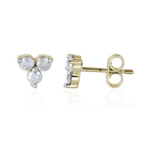 9K Y Gold SGL Certified Diamond (Rnd) (I3/ G-H) Stud Earrings (with Push Back) 0.500 Ct.
