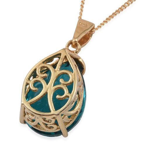 Capri Blue Quartz (Pear) Solitaire Pendant With Chain in 14K Gold Overlay Sterling Silver 8.750 Ct.