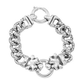 Thai Statement Collection Sterling Silver Dragon Head Curb Bracelet (Size 8), Silver wt 32.30 Gms.