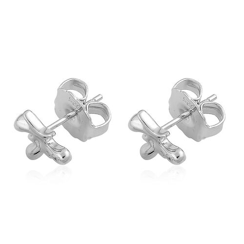 LucyQ Splat Earrings (with Push Back) in Rhodium Plated Sterling Silver 2.08 Gms.