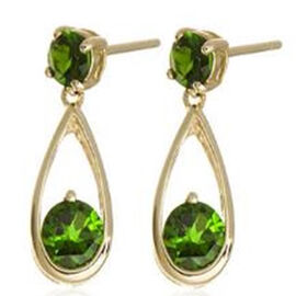 Russian Diopside (Rnd) Earrings in 14K Gold Overlay Sterling Silver 2.000 Ct.