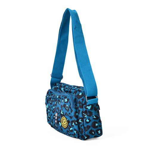Leopard Pattern Waterproof Sport Bag with External Zipper Pocket and Adjustable Shoulder Strap (Size 21.5x17x7 Cm)
