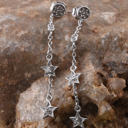 Diamond (Rnd) Star Earrings in Platinum Overlay Sterling Silver 0.090 Ct.