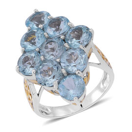 Sky Blue Topaz (Rnd) Ring in Rhodium Plated Sterling Silver 13.000 Ct.