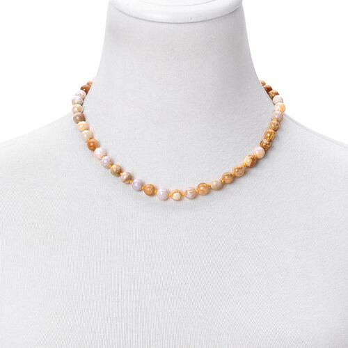 Limited One Time Deal- Rare Finest Fossil Coral Necklace (Size 18) in Rhodium Plated Sterling Silver 171.500 Ct.