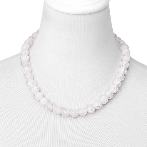Simulated White Diamond Ball Beaded Necklace (Size 20) with Magnetic Clasp