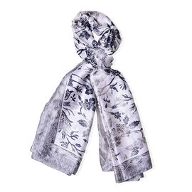 Black, Grey and White Colour Floral Pattern Scarf (Size 180X90 Cm)