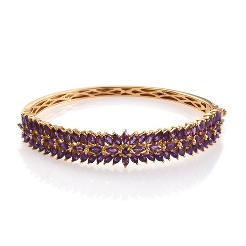 AA Lusaka Amethyst (Rnd) Bangle (Size 7.5) in 14K Gold Overlay Sterling Silver 11.250 Ct.