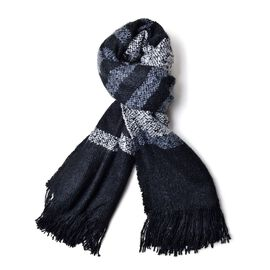 One Time Deal-Designer Black and Grey Colour Stripe Pattern Scarf with Fringes (Size 200x70 Cm)