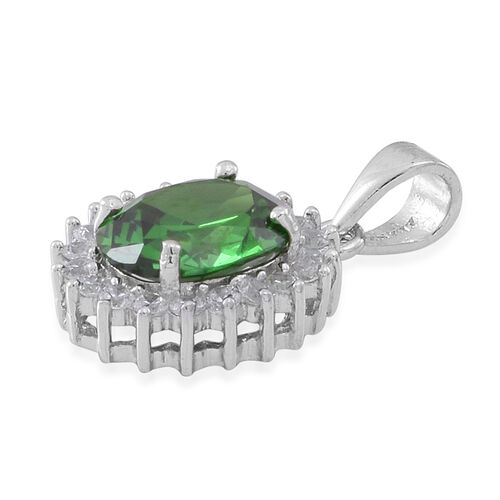 Simulated Emerald (Ovl), Simulated White Diamond Pendant in Rhodium Plated Sterling Silver